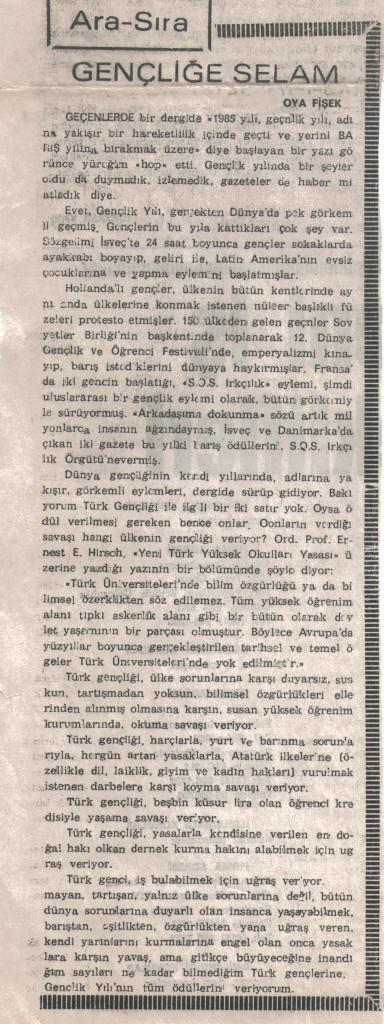 Gençliğe Selam - 30 Aralık 1985